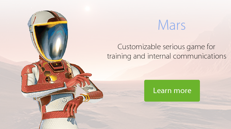 Mars video game for internal communication